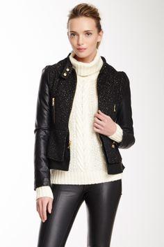 Bebe Tweed & Faux Leather Peplum Jacket on HauteLook