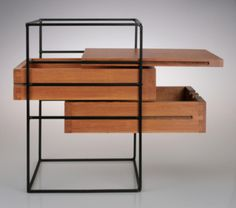 Floating wood planes in a blackened steel grid Two Drawer Widdicomb Box by Widdicomb for The Planner Group Steel Furniture, Industrial Furniture, Rustic Furniture, Diy Furniture, Modern Furniture, Furniture Design, Furniture Stores, Furniture Outlet, Furniture Websites