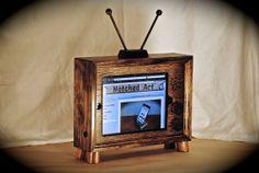 "The ""iPad TV Dock"" docking station- Dark Walnut wooden ipad stand for iPad and gen on Etsy, Stamp Wooden Ipad Stand, Wood Phone Holder, Cool Wood Projects, Tech Art, Yarn Wall Hanging, Tablets, Dark Walnut, Diy Christmas Gifts, Handmade Wooden"