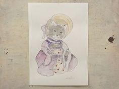 victorian well dressed cat  illustration original by vumap on Etsy