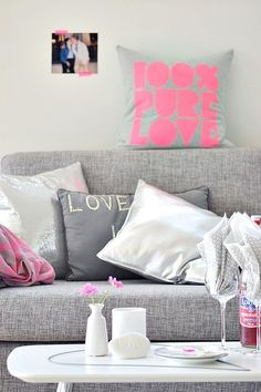 grey pink white pillows
