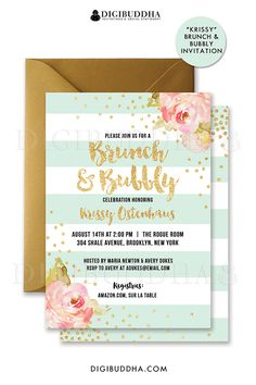 Mint & gold Brunch & Bubbly bridal shower invitations with boho chic pink watercolor peonies and gold glitter confetti dots. Choose from ready made printed invitations with envelopes or printable bridal shower invitations. Rose shimmer envelopes also available. digibuddha.com