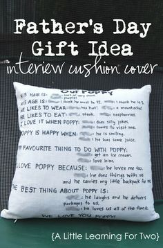 Father's Day Gift Idea - Interview Cushion Cover  - repinned by @PediaStaff – Please Visit  ht.ly/63sNt for all our pediatric therapy pins