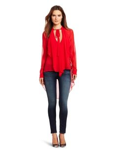BCBGMAXAZRIA Women's Keslyn Blouse BCBGMAXAZRIA. $102.05. Dry Clean Only. 100% Silk. Front neck ties. Made in China. High-low hem