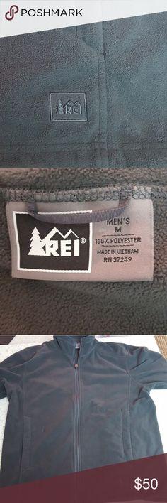 REI Polyester Fleece Men's Medium Gray Green Fleece REI Sweaters