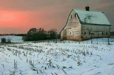 barn in winter sunset.Barns create such a feeling of nostalgicfor me,I remember playing in my aunt's barn with my cousin's. Farm Barn, Old Farm, Champs, Country Barns, Country Life, Country Living, Country Roads, Country Houses, Country Charm