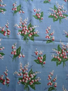 my new vintage lily of the valley barkcloth fabric