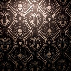 Prints + Patterns. Skeleton Damask stencil wallpaper installation by Skull-A-Day's Noah Scalin. #Print #Pattern #Skulls
