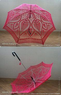 """El paraguas brillante """"Розовые мечты"""". Tal paraguas chiné es útil para las fotosesiones veraniegas y los paseos por el malecón de mar."""