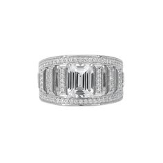 Start a legacy ring - emerald cut dress ring with 86 pavé set cz stones and 1.0 carat centre stone $150