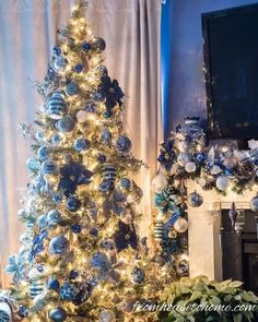 This white, blue and gold Christmas tree decor is so glam! I would love to do my holiday decorations like this. #fromhousetohome #christmastree #christmasdecor #xmas #christmastree #bluechristmasdecor White Christmas, Silver Christmas Decorations, Xmas Tree Decorations, Beautiful Christmas Trees, Christmas Tree Themes, Christmas Traditions, Christmas Time, Christmas Ideas, Christmas Ornaments
