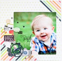 Best Ever by Heidi Swapp Media Team Member Lindsay Bateman featuring the September Skies Collection - Scrapbook.com - You don't have to use a baby themed collection for an adorable baby layout.