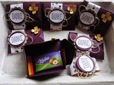 """.Kreativ am Deich: kleine Milkatäfelchen - schnlell kreativ verpack mit dem EPB Papier: 9 x 9 cm, falzen + stanzen bei 2"""" rundherum, Streifen aus Designerpapier: 11,4 x 2 cm als """"bauchbinde"""" + Wellenkreis mit passendem Text - ferrdisch"""