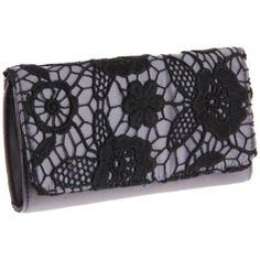 pewter and black lace clutch