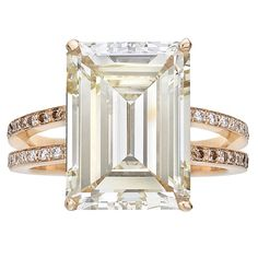 9.54 Carat Fancy Light Brownish Yellow Diamond Ring | From a unique collection of vintage engagement rings at https://www.1stdibs.com/jewelry/rings/engagement-rings/