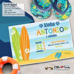 Aloha! O tema da festa é praia e surf? Deixa o convite com a gente!    Bora pra uma leiturinha? A gente explica direitinho aí embaixo.... Xô preguiça!    Você compra o arquivo digital e imprime quantas vezes quiser, em casa, gráfica ou aonde desejar. (Clap, Clap, Clap!)  A grande vantagem do form... Surf Vintage, Surf Trip, Beach Party, Surfing, Baby Shower, Birthday, Cards, Bernardo, Invitation Ideas