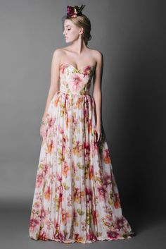 Jennifer Gifford Designs, Alea Floral Gown is made from Water Colour Printed Silk Chiffon and Silk Dupion. Floral Wedding Gown, Colored Wedding Dresses, Bridal Dresses, Wedding Gowns, Floral Gown, Floral Dresses, Wedding Flowers, Turquoise Bridesmaid Dresses, Bridesmaids