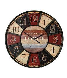 Reloj pared hierro y madera de 58 cm