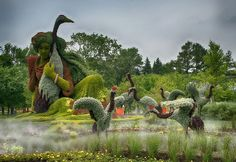 International  Mosaiculture  Exhibition   Montreal - Summer 2013 - Lady  and  Cranes  /  Chinese  Myth.   The lady is about 35 feet high.