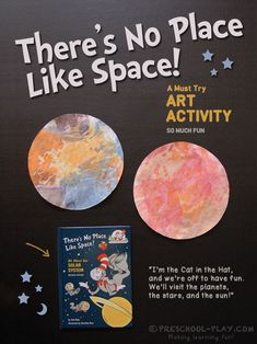"""Art extension activity for the book """"There's No Place Like Space!"""" written by Tish Rabe. Perfect for preschool pre-k and kindergarten. Planets Preschool, Planets Activities, Space Theme Preschool, Space Activities For Kids, Pre K Activities, Preschool Books, Kindergarten Activities, Preschool Activities, Solar System Projects"""