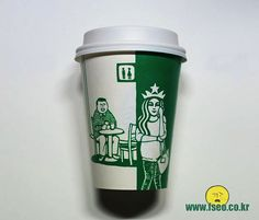 When I look at Starbucks coffee cups, I think of, well, Starbucks coffee. When artist Soo Min Kim looks at them, he sees something else entirely. Logo Starbucks, Starbucks Coffee Cups, Coffee Cup Design, Coffee Business, Coffee Branding, Graphic Design Illustration, Doodles, Mugs, Drawings