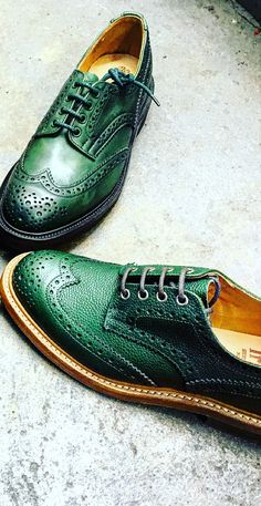 Bourton Country Shoe - From our library, these Tricker's handmade heavy brogue Derby shoe with half bellows tongue and storm welt in Green calf leather and Scotch Grain. LAST 4444