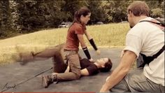 "When Katniss made a move on Clove. | 24 Times The Cast Of ""The Hunger Games"" Broke Character"