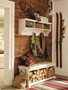 """Love the idea of combining a Hall Tree storage combination and wood storage. now where to find vintage skis and snowshoes? Maybe next to our """"fireplace"""" Cabin Homes, Log Homes, Ski Lodge Decor, Lodge Style, Cabin Interiors, Furniture, Home Decor, Entryway Decor, Entryway Storage"""