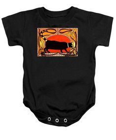 Black Cat Baby Onesie featuring the painting Black Cat With Floral Motif Of Art Nouveau By Dora Hathazi Mendes black cat, floral, art nouveau, organic, organic motif, cat, cats, feline, animal, animals, decoration, decorative, belgium, belgian, secession, jugendstil, framed, necklace, black lines, organic lines, flower, flowers, floral, classic, warm tones, red, gold, gold flower, mosaic, print, bodysuit, baby, babyfashion,