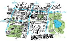 Illustration/Map: Sugar House District, Salt Lake City by Valerie JarSweet little illustration of SLC's Sugar House District, including prominent landmarks, lots of parks, bus routes through the area and the new S-Line Streetcar!Source: Valerie Jar's portfolio website