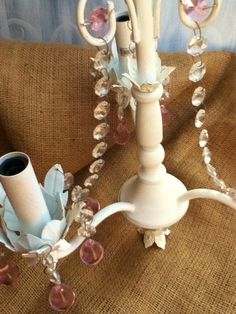 Shabby Chic CHANDELIER / Upcycled / Country French by theStylepyle, $75.00