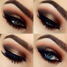 "Beautiful warm metallic look by @bybrookelle EYES: Stila Magnificent Metals shadow, with MUG ""Glamorous, Corrupt, Cocoa"