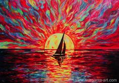 Sunset at Sea. 2015. Original Acrylic Painting on Canvas, 100 x 70 cm. Artist: Margarita Kriebitzsch www.margarita-art.com  #kunst #art #artist #MargaritaKriebitzsch #Malerei #Gemälde #Painting #Ausstellung #Hamburg#Bild #bestoftheday #nofilter #picoftheday #beautiful #happy #awesome #love #like4like #instadaily #Sea   #landscape   #sail   #sailing   #sailboat   #sunset   #sunrise