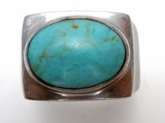 Turquoise Ring Sterling Silver Size 7 Oval Blue Gemstone Vintage Boho Jewelry  | Jewelry & Watches, Ethnic, Regional & Tribal, Southwestern | eBay!