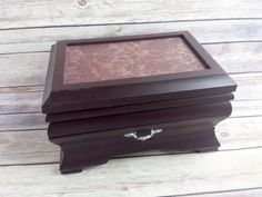 Jewelry Box maroon floral vintage chic Up Cycled Eco Friendly READY TO SHIP - pinned by pin4etsy.com
