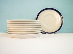 Rosenthal Set of 9 Small Blue Plates Dishes Ceramic Porcelain.
