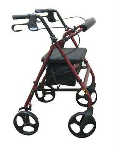 Rollator 4Wheel with Pouch  Padded Seat Red  Drive ** Detailed information can be found by clicking on the image