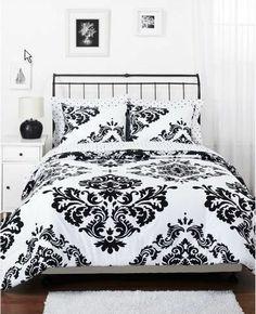 Imperial Damask Comforter Set Full Black White Reversible Pillow Sham Curtains