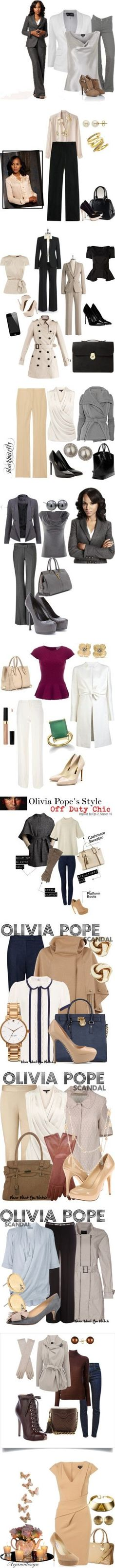 I love everything about the wardrobe of Kerri Washington's character Olivia Pope, from scandal by frick