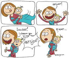 Cartoon rugdragen | Betje.com Baby Carrying, Babywearing, Van, Cartoon, Comics, Comic Strips, Kids, Baby Wearing, Cartoons