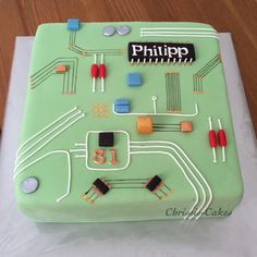 Motherboard computer cake - Home Page Engineering Cake, Computer Cake, Birthday Cakes For Men, 11th Birthday, Geek Birthday, Occasion Cakes, Cute Cakes, Creative Cakes, Party Cakes