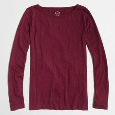 J.Crew Factory long-sleeve artist tee (€26) ❤ liked on Polyvore featuring tops, t-shirts, longsleeve t shirts, j crew top, long sleeve tee, purple long sleeve t shirt and purple t shirt