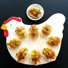 Triple Hatch Chile Deviled Eggs look like little footballs on ShockinglyDelicious.com