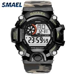 8c704c0ad8e Men Watch 50m Waterproof SMAEL Top S Shock Watch Men LED Sport Watches  Camouflage Watch Band 1385C Digital Wristwatches Military
