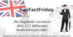 #FunFactFriday bei THE BRITISH SHOP: Die Engländer verzehren über 1,5 Milliarden Sandwiches pro Jahr!