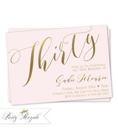 Womens 30th Birthday Invitation Modern Invites Invitations For Her Blush Pink And Gold Elegant Classic