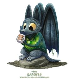 Daily Paint Gargyle by Cryptid-Creations on DeviantArt Cute Fantasy Creatures, Cute Creatures, Mythical Creatures, Cute Animal Drawings, Kawaii Drawings, Art Drawings, Animal Puns, Funny Animals, Cute Animals