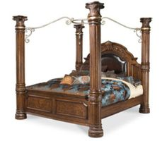 Cafe Brown/Leather King Canopy Bed #AICO
