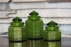 Large Green Glass Jars with Lids Set of 3 by YourGreatestStory