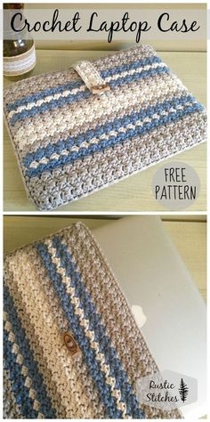 Crochet Purses Patterns Crochet Laptop Case By Jessica Eliason - Free Crochet Pattern - (rusticstitches) Bag Crochet, Crochet Shell Stitch, Crochet Handbags, Crochet Purses, Crochet Home, Love Crochet, Crochet Gifts, Crochet Stitches, Crotchet